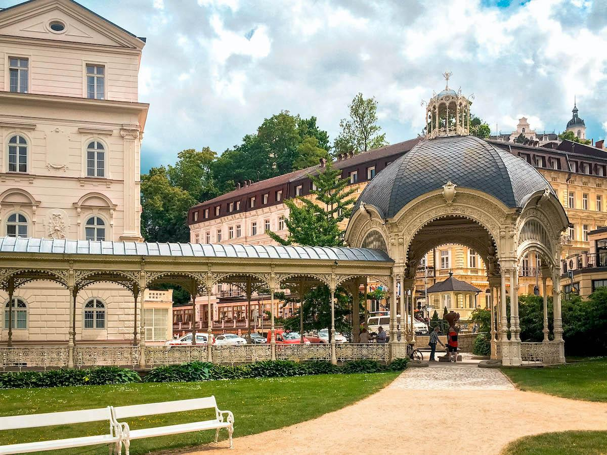Park Colonnade in Karlovy Vary on a sunny day