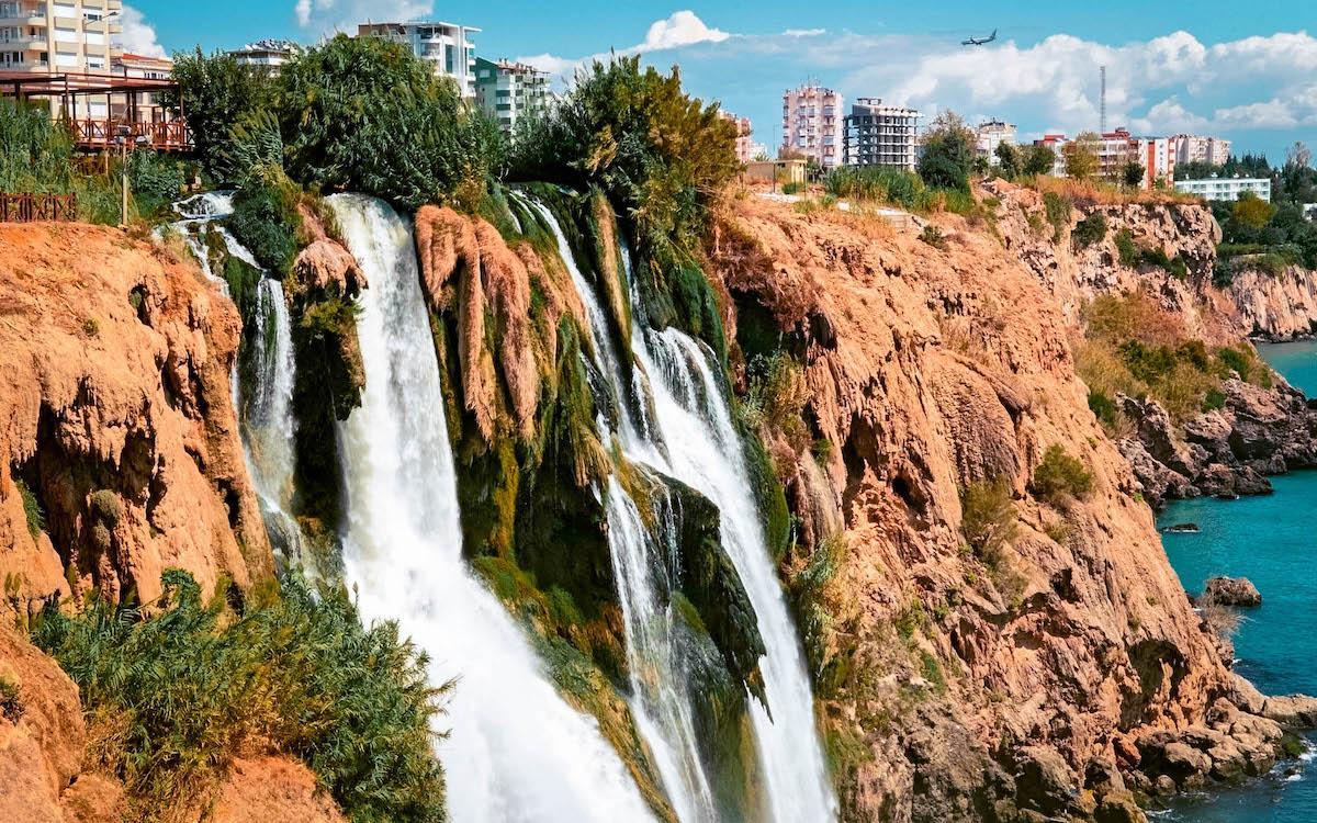 Duden Waterfall flowing into the Mediterranean Sea