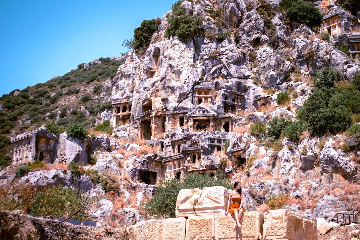 Myra Ancient City stone carved tombs in Demre, Antalya