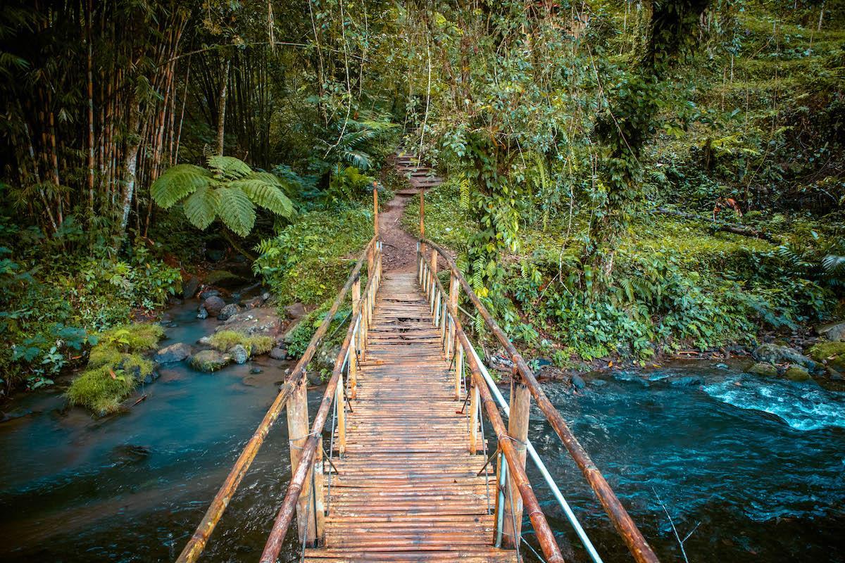 Leke Leke Waterfall Bali bamboo bridge