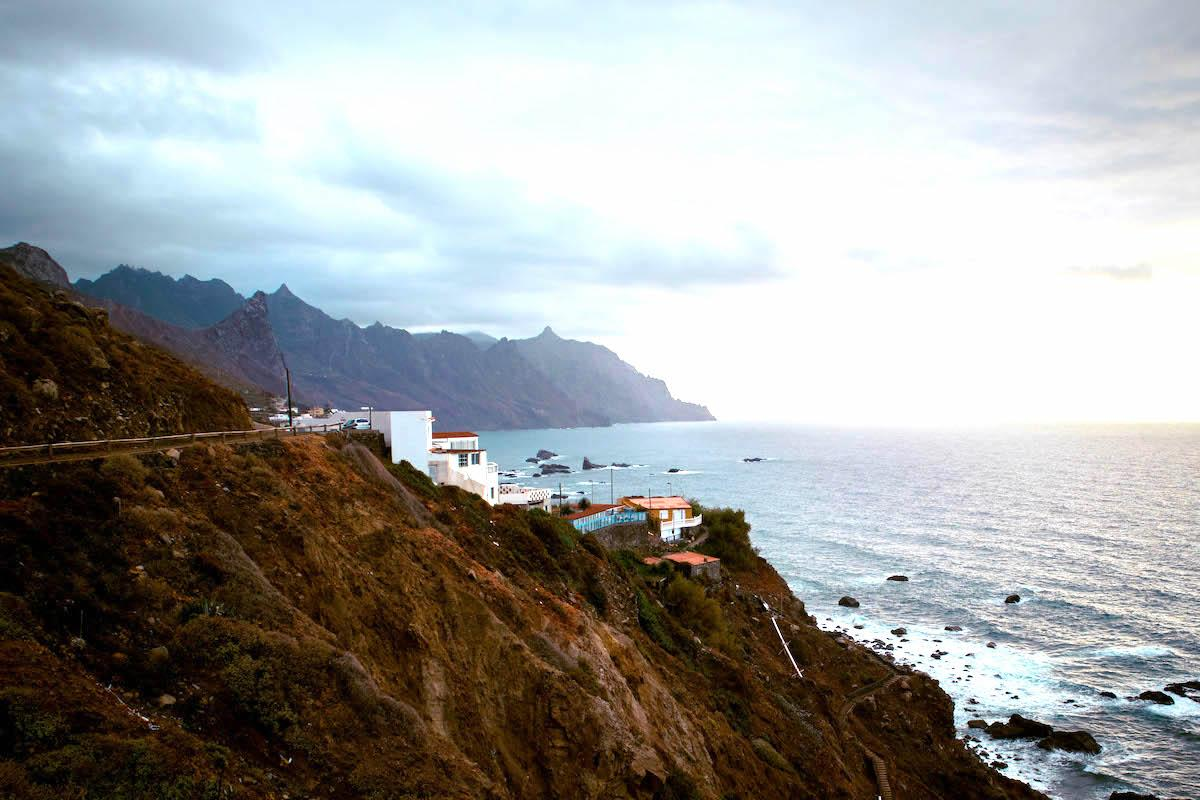Houses on a cliff in Taganana, Tenerife