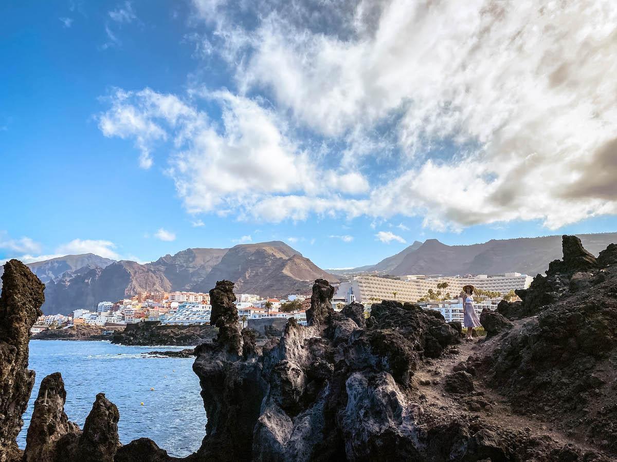 Tenerife natural pools at Charco el Diablo. Lava rock pools in Tenerife
